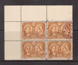 Canada #63 VF Used Upper Left Margin Block