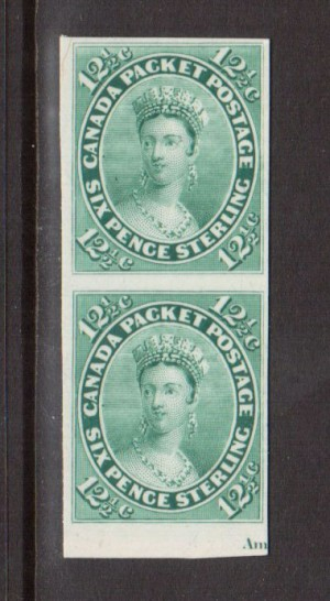 Canada #18P XF Plate Proof Pair Showing Part Imprint India Paper On Card