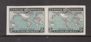 Canada #86iv XF Mint Imperf Pair With Red Omitted