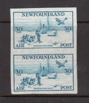 Newfoundland #C15a XF/NH Imperforate Pair **With Certificate**