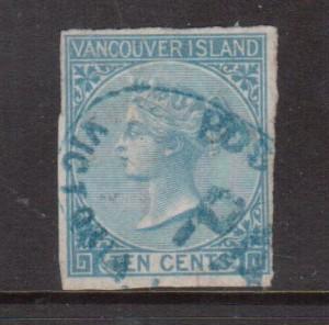 British Columbia #4 Used With Victoria Paid Cancel **With Certificate**