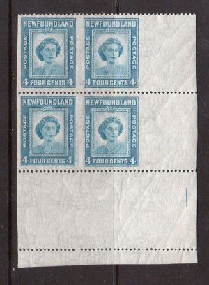 Newfoundland #269b XF/NH Corner Block With Imperf Pairs