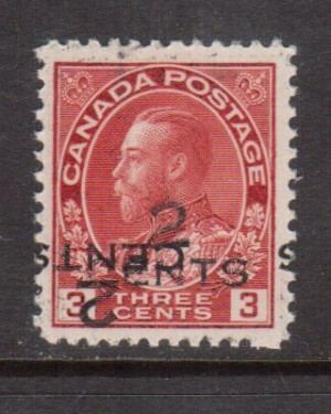 Canada #140c VF/NH Double Surcharge **With Certificate**