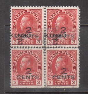 Canada #140c VF/NH Rare Block With Double Surcharge **With Cert.**