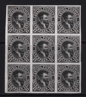 Canada #19TCi XF Proof Block Of Nine In Black