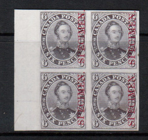 Canada #2TCxii XF Sheet Margin Proof Block In Lilac With Carmine Specimen On India Paper