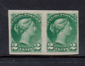 Canada #36v VF Mint Imperforate Pair **With Certificate**