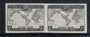 Canada #86v XF Mint Imperforate Pair In Black