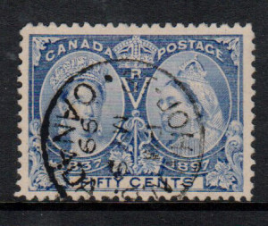 Canada #60 XF Used With S.O.N. May 9 1899 CDS Cancel **With Cert.**