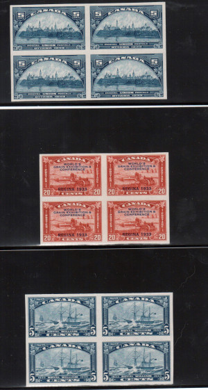 Canada #202a #203a #204a XF/NH Imperforate Block Set **With Certificate**