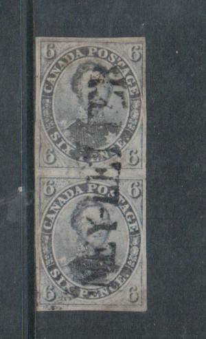 Canada #2 VF Used Pair On Laid Paper **With Cert.**