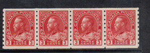 Canada #130iii XF/NH Paste Up Strip Of Four **With Cert.**