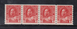 Canada #130b VF+/NH Strip Of Four **With Certificate**