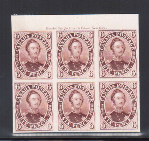 Canada #2TC XF Top Margin Imprint Proof Block Of Six
