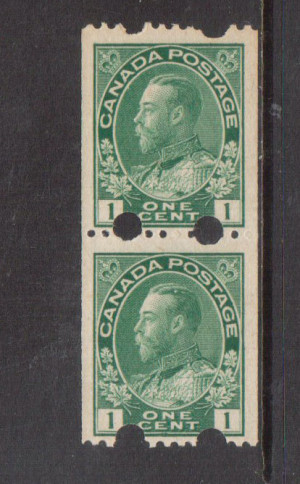 Canada #131iv VF/NH Experimental Coil Pair **With Certificate**