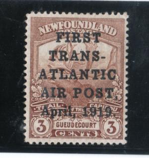 Newfoundland #C1 VF/NH With JAR Postmaster JA Robinson Manuscript On Reverse
