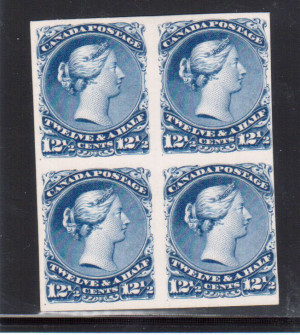 Canada #28P Plate Proof Block India On Card