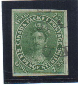 Canada #9a XF Used With Quebec JY 16 1858 CDS Cancel **With Cert.**