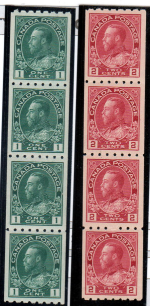 Canada #123 - #124 XF/NH Rare Coil Strips Of Four