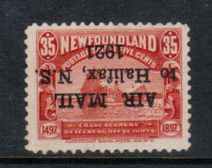 Newfoundland #C3a VF/NH Inverted Overprint Variety **With Cert.**