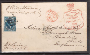 Canada #7a Used On Scarce Legislative Assembly Cover Feb 21 1859 **With Cert.**