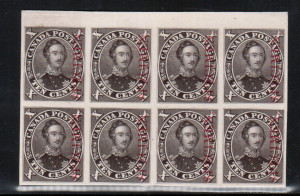 Canada #16Pi & Variety XF Proof Block Of Eight