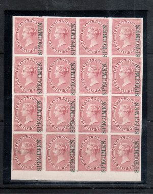 Canada #8Pi XF Plate Proof Block Of 16 Strong Reentry