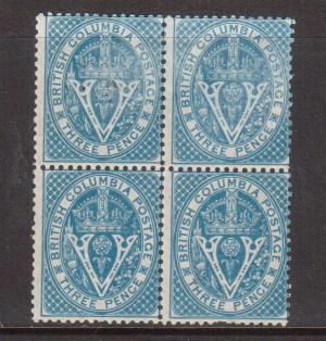 British Columbia #7 Mint Block **With Certificate**