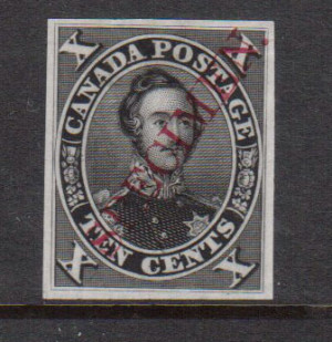 Canada #16TCi XF Plate Proof In Black With Diagonal Specimen Overprint