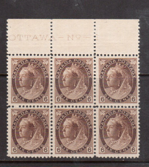 Canada #80 Very Fine Never Hinged Plate #1 Block Of Six
