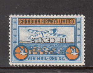 Canada #CL52a XF/NH Inverted Surcharge **With Certificate**