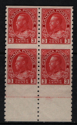 Canada #130a XF Mint Imperf Block **With Certificate**