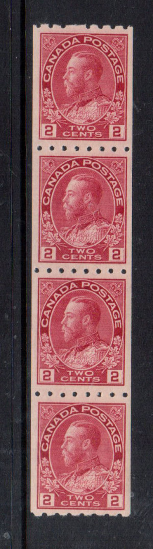 Canada #124 XF/NH Coil Strip Of Four **With Certificate**