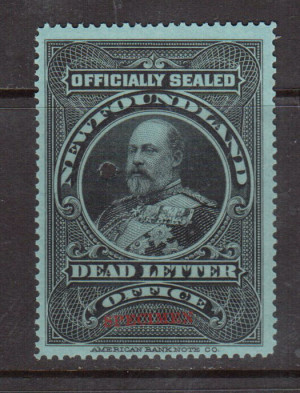 Newfoundland #OX1iii VF/NH With Red Specimen **With Certificate**