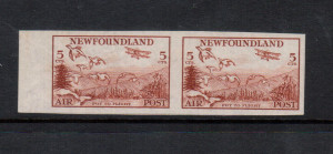 Newfoundland #C13a XF/NH Imperforate Pair **With Certificate**