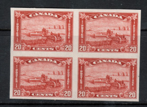 Canada #175a XF/NH Imperf Block **With Certificate**
