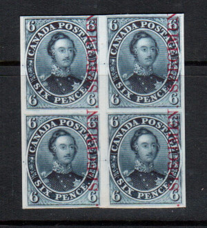 Canada #2TCxi VF Proof Block In Grey Blue On India Paper With Carmine Specimen
