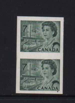 Canada #549a XF/NH Imperforate Pair