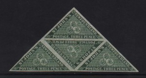 Newfoundland #11a XF/NH Triangle Block Of Four