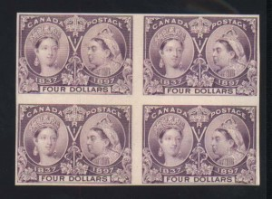 Canada #64P VF Plate Proof Block On Card