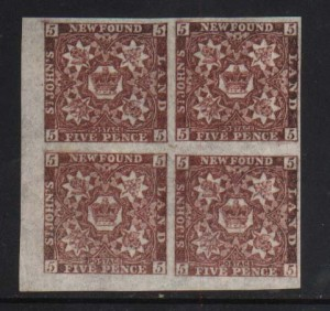 Newfoundland #12aii XF/NH Venetian Red Shade Block