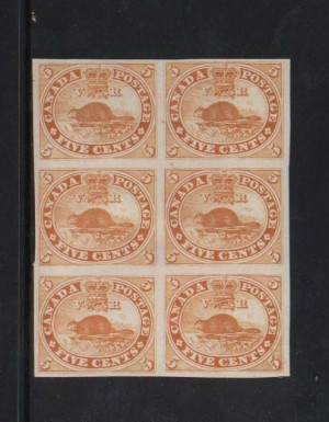 Canada #15TCviii XF Proof Block Of Six In Orange Yellow