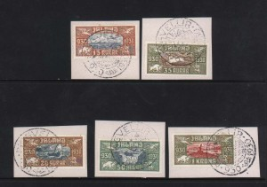 Iceland #C4 - #C8 VF Used Set On Piece With Choice Cancels
