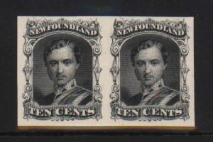 Newfoundland #27Pi XF Mint Imperf Proof Pair On Card