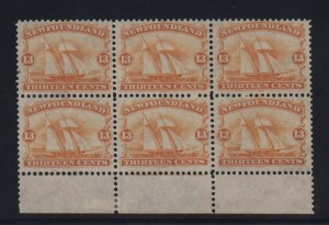 Newfoundland #30 VF/NH Plate Block Of Six