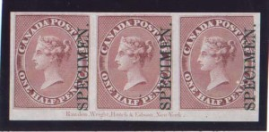 Canada #8Pi XF Mint Plate Proof Pos. Piece Strip Of Three
