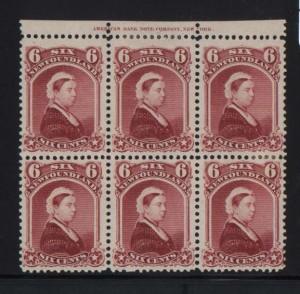 Newfoundland #36 XF Mint Plate Block