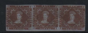 Nova Scotia #1 VF Used Showpiece Strip Of Three **With Cert.**