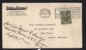 Newfoundland #C5 World Rarity Cover Used To UK