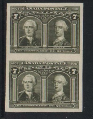 Canada #100a XF/NH Imperforate Pair **With Certificate**